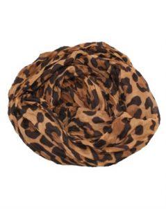 Brunt tørklæde med leopardmønster