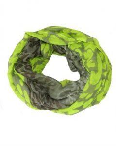 Tubetørklæde i neongul med grå leopardpletter