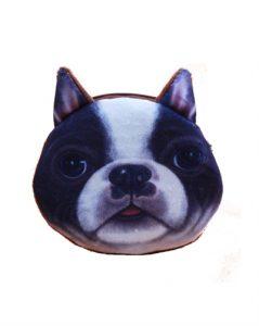 Lille pung til mønter med et motiv af en hund i sort og hvid