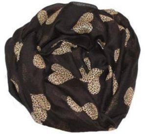 Smukt tørklæde i sort med hjertedesigns