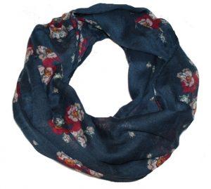 Tubetørklæde i mørkeblå med blomster