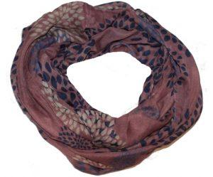 Blommefarvet tubetørklæde med blade