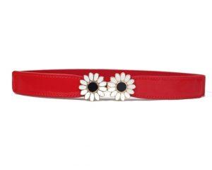 Nye elastikbælter online i Smikkas webshop. Se rødt elastikbælte med margueritblomster