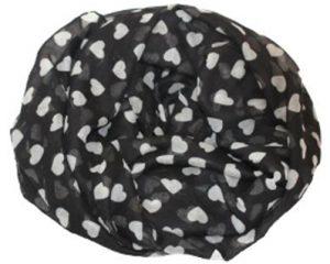 Bestil sort tørklæde med hvide hjerter billige online hos Smikka