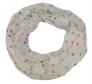 Køb tubetørklæde i hvid med neon hjerte