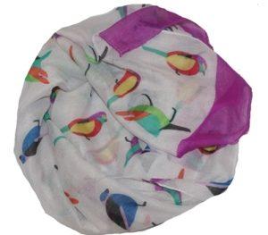 Køb billigt tørklæde med fugle i flotte farver online hos Smikka