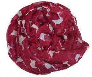 Rødt tørklæde med gæs på tilbud online Smikkas webshop
