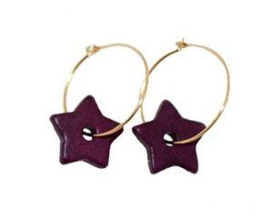 Bestil øreringe med keramikstjerner i mørkelilla billigt online Smikka