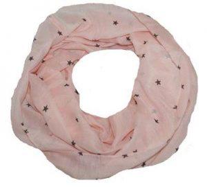 Lyserødt tube tørklæde med små sorte stjerner på tilbud