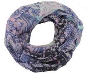 Mønstret tubetørklæde i blålilla nuancer online hos Smikka