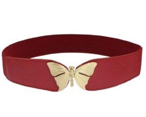 Køb elastikbælte i rød med guld sommerfugle spænde på tilbud i webshoppen Smikka