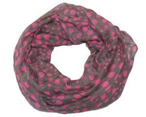 Tubetørklæde med neon prikker i pink