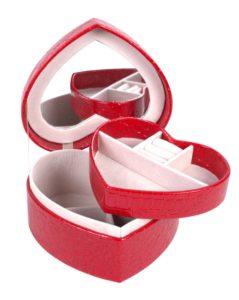 Rødt smykkeskrin formet som hjerte online Smikka webshoppen