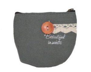 Lille grå pung i kanvas. Passer perfekt i lommen. Køb under januar udsalg 2017 Smikka webshop