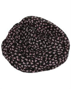 Tørklæder i sort med små lyserøde hjerter
