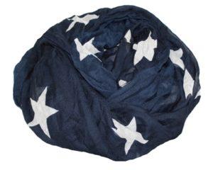 Mørkeblå tørklæder med hvide stjerner hos Smikka