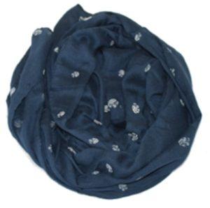 Mørkeblå tørklæder med hvide roser online hos Smikka