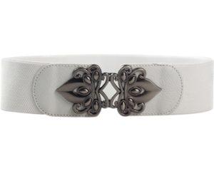 Bælte i hvid elastikbælte med stort sølvspænde