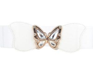 Bælter i hvid elastik med sommerfuglespænde