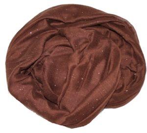 Tørklæde i brunt med glittersten