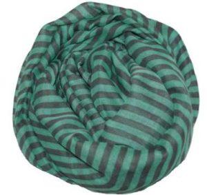 Stribet tørklæde i grøn og grå