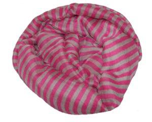 Stribet tørklæde i pink og grå