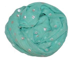Prikkede tørklæder i turkis med sølvfarvede prikker online Smikka