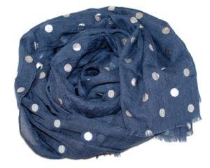 Mørkeblå tørklæder med prikker i sølv