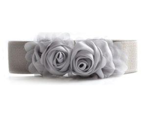 Gråt elastikbælte med rose