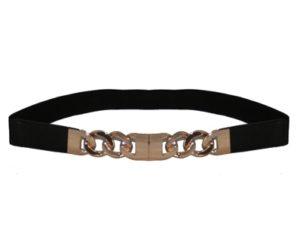 Smalt sort elastikbælte med kædelås