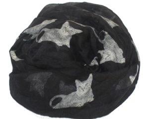 . Tørklæder med katte. Sort tørklæde med katte online webshop Smikka
