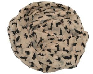 Beige tørklæde med sorte små katte
