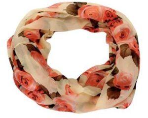Tubetørklæde i beige med lyserøde roser og mørkegrønne blade online