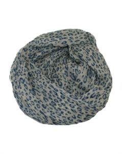 Tørklæder med leopardprint i hvid og blå