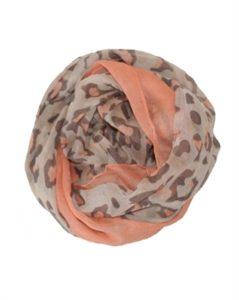 Tørklæde med leopardprint og kant i orange