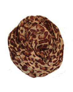 Brunt tørklæde med leopardprint billigt online