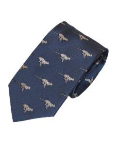 Mørkeblå slips med dyremotiv. Slips med guldfarvet jaguar online Smikka