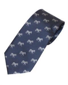 Mørkeblåt slips med sølvfarvede zebraer online Smikka