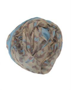 Dyretørklæde med leopardmønster og blå kant