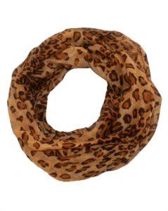 Brunt tubetørklæde med leopardmønster