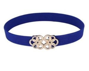Blå elastikbælte i størrelse XL. Elastikbælte 135 centimeter om taljen.