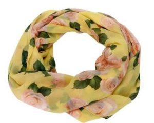 Tubetørklæde med roser i gul