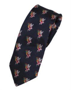 Juleaccessories til mænd hos Smikka. Bestil mørkeblåt slips med små julemænd