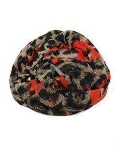 Leopardtørklæde med orange hjerter online