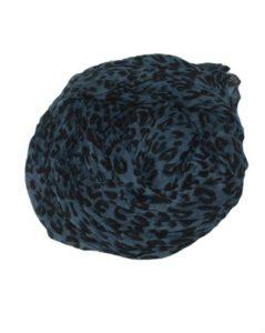 Leopardtørklæde i blå med sort leopardprint online Smikka