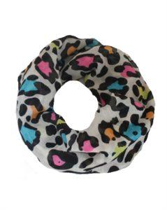 Hvidt tubetørklæde med neonfarvet leopardprint