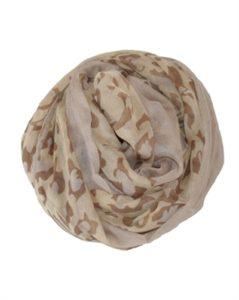 Lyst dyretørklæde i leoparddesign med ensfarvet kant