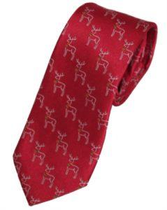 Rødt slips med rensdyr til jul og julefrokost