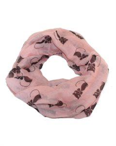 Lyserødt tubetørklæde med sorte katte