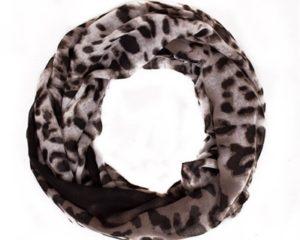 Leopardtubetørklæde i sort og grålige nuancer online Smikka